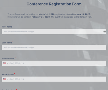 Online Conference Registration Form